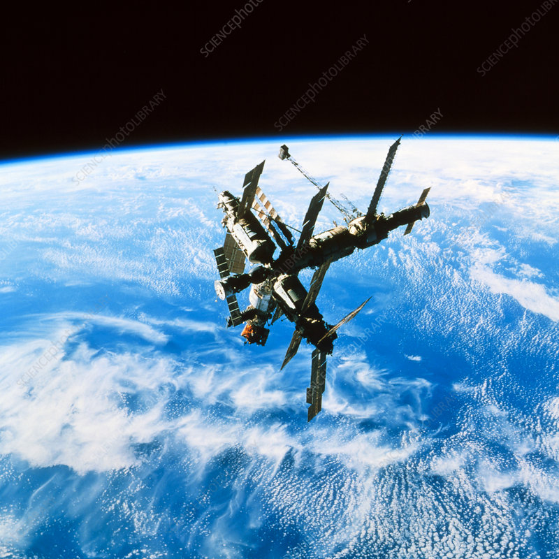 Russian space station Mir in orbit over Earth.