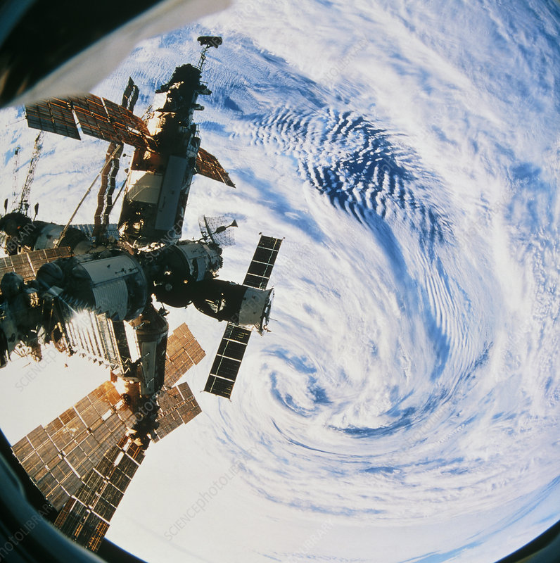 Russian space station Mir over a storm on Earth