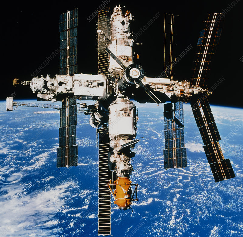 Russian Space Station Mir In Orbit Over Earth Stock Image S635