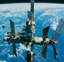 View of the Mir space station in orbit above Earth