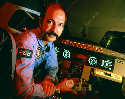 Wubbo Ockels at controls of the Hermes simulator
