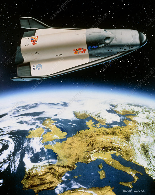 Artwork of Hermes space shuttle orbiting Europe