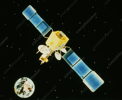 Artwork of Intelsat-V communications satellite.
