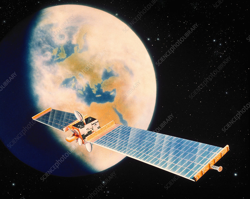 Artwork of an Olympus communications satellite