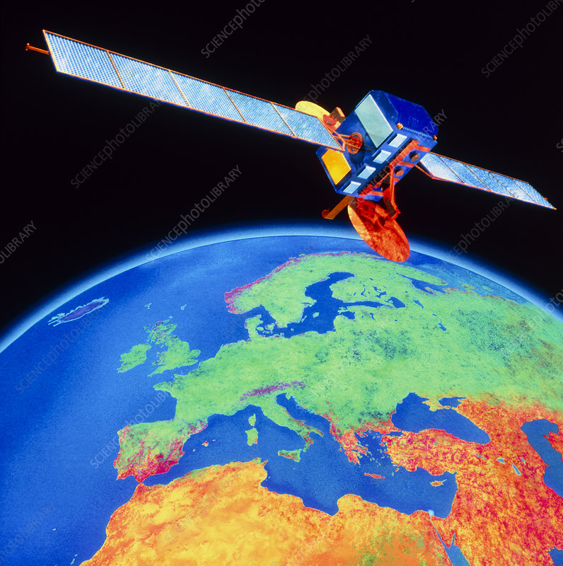 3-D Computer graphic of satellite over Europe