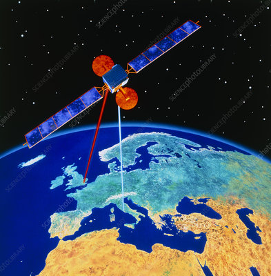 Illustration depicting a communications satellite