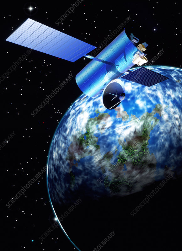 Artwork of a communications satellite over Earth
