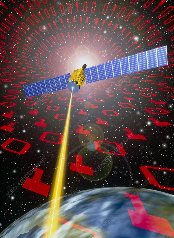 Computer art of communication satellite over Earth