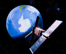 ERS-1 satellite in orbit over earth