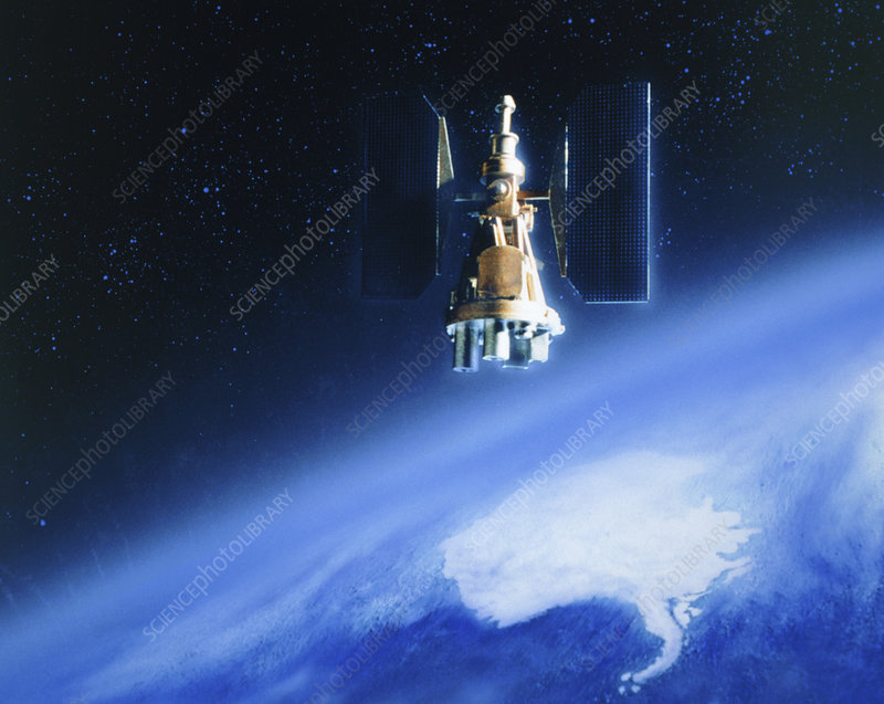 Artwork of Nimbus-7 in orbit over Antarctica