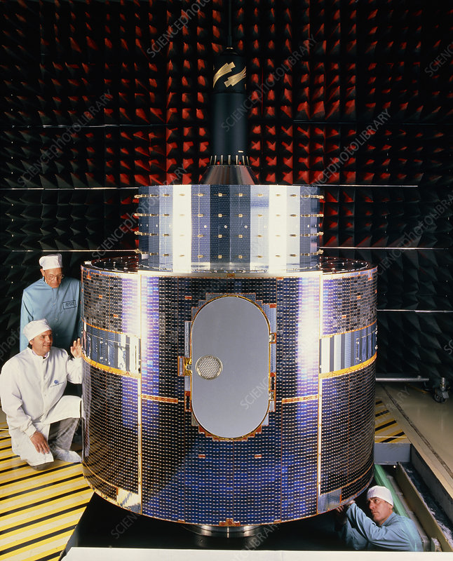 Technicians with Meteosat-6 in test chamber