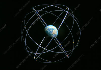 Artwork of Global Positioning Satellite orbits