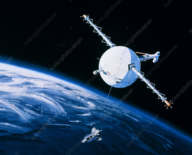Artist's impression of TSS-1 in orbit