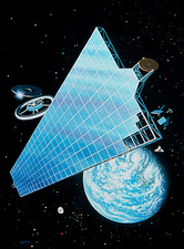 Artwork of Solar Power Satellite station in orbit
