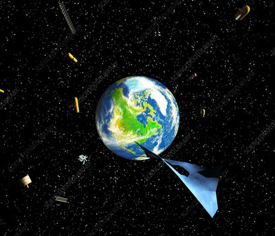 Artwork of debris in orbit around the earth