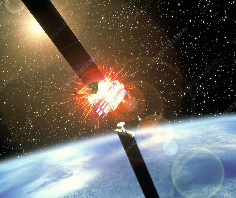 Artwork of space junk colliding with a satellite