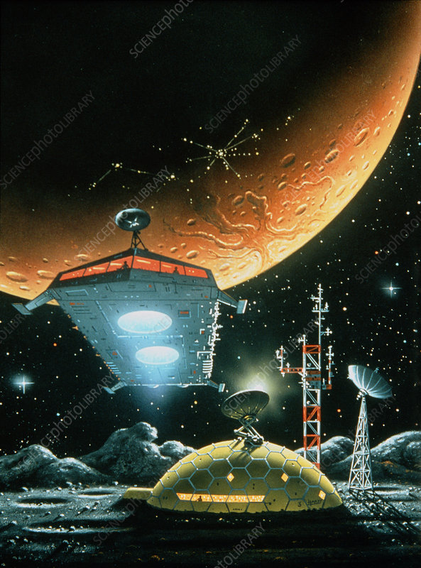 Artwork of a manned base on Phobos.