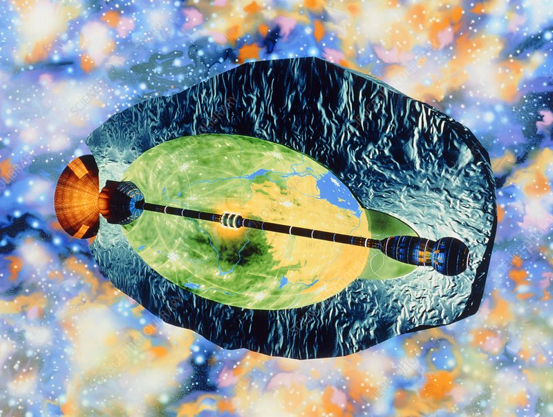 Artwork of asteroid starship