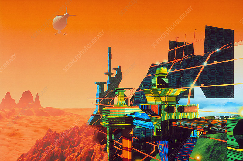 Artwork of Mars terraforming greenhouse