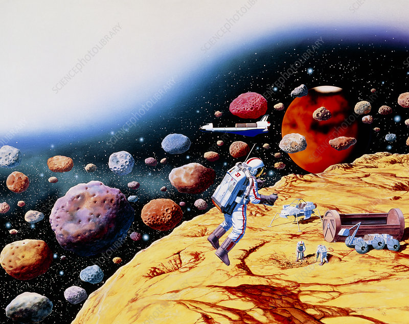 Artwork of astronauts mining asteroids