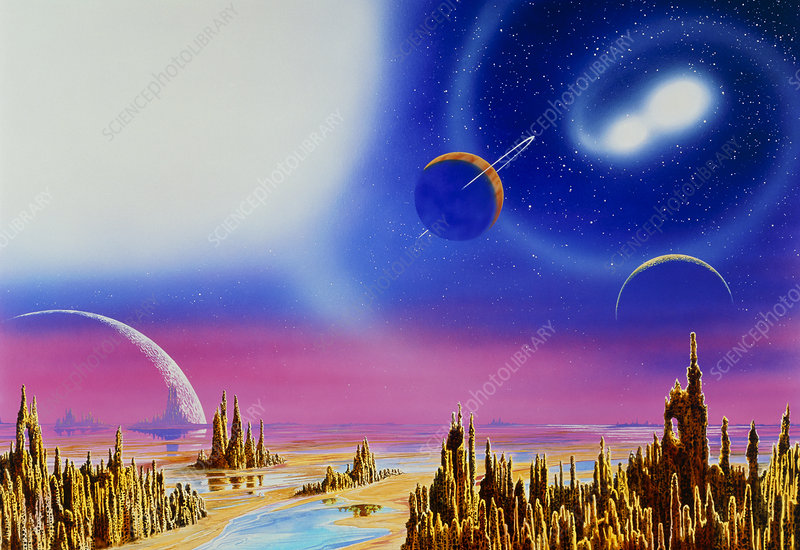 Artwork of alien landscape with planet-filled sky