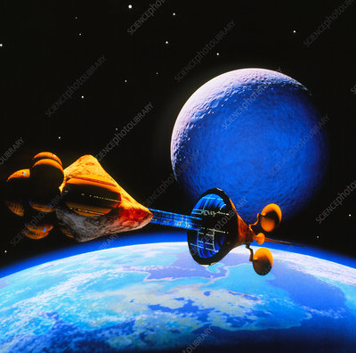 Spaceship arriving at a habitable planet.