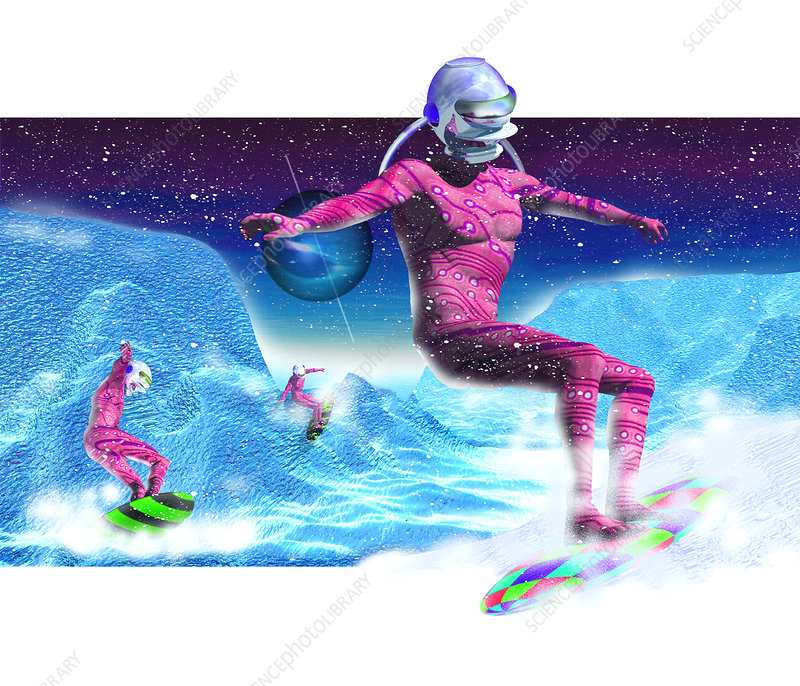 Computer artwork of men snowboarding on Titan