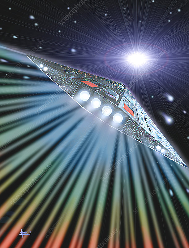 Artwork of a spaceship travelling near light speed