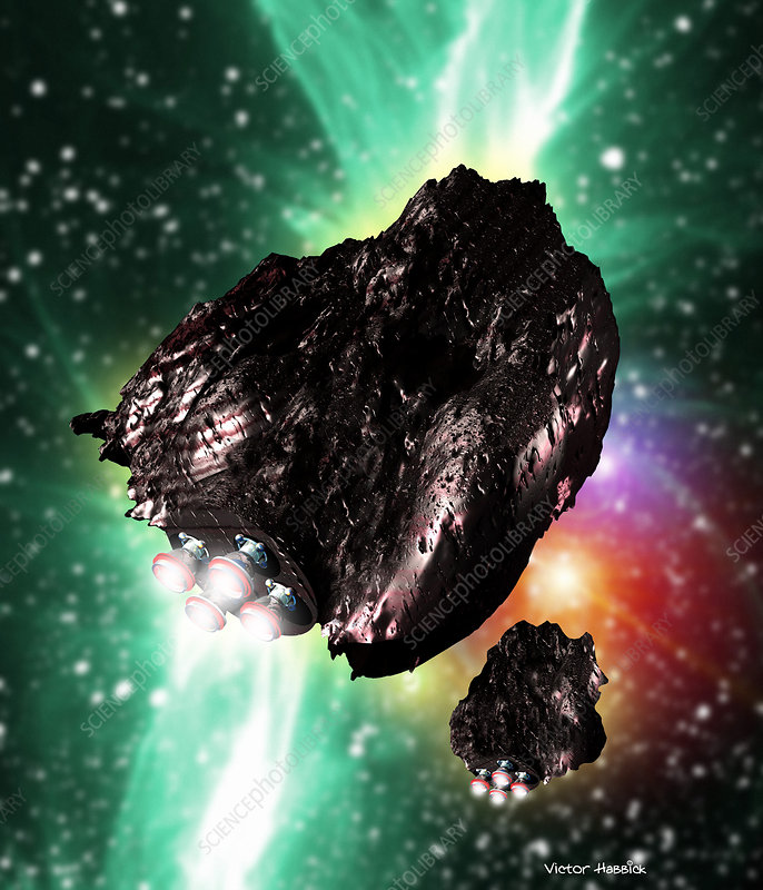 Rocket-controlled asteroids