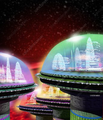 Domed space cities