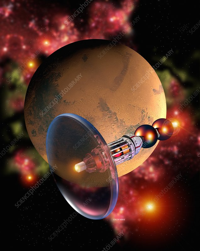 Bussard Ramjet spaceship passing Mars.