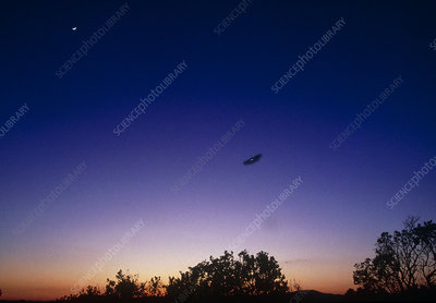 Fake UFO flying at dusk near Roswell, New Mexico