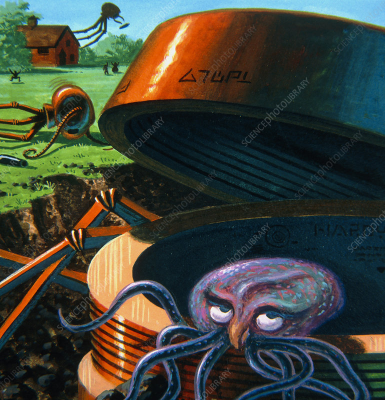Artwork representing H. G. Wells' Martians' demise