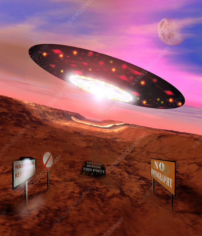 Computer artwork of a UFO flying over Area 51