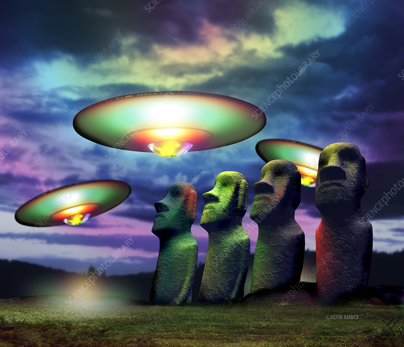 UFOs over statues