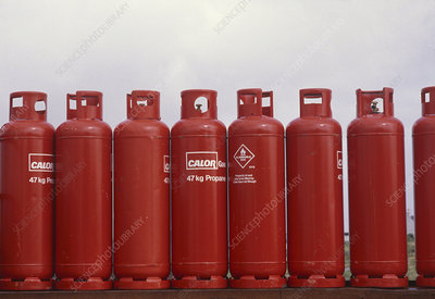 Cylinders of liquefied propane fuel