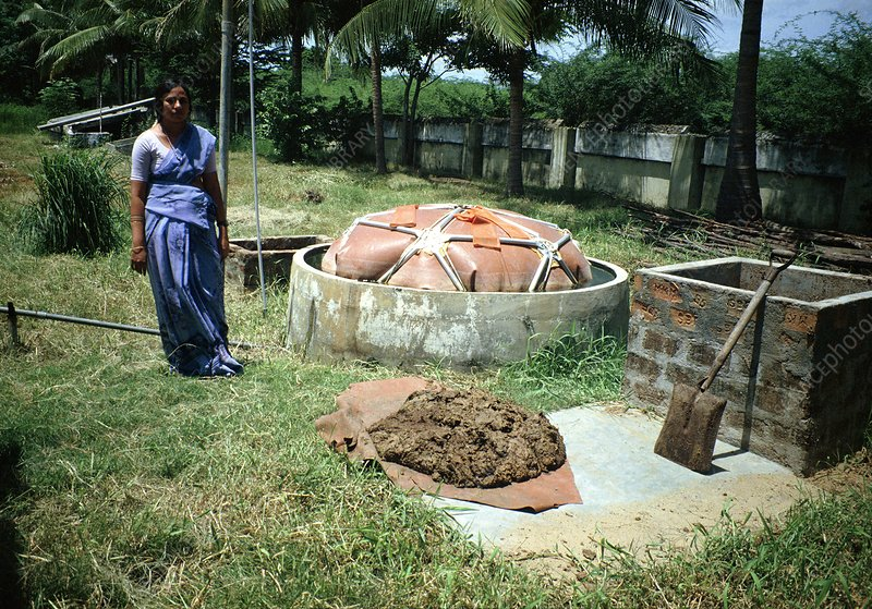 Small-scale biogas digestor under evaluation