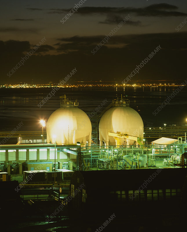 Two gas storage spheres at ICI chemical works