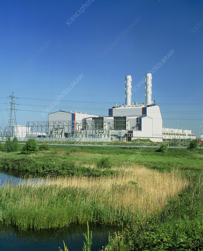 View of the Deeside gas-fired power station, Wales