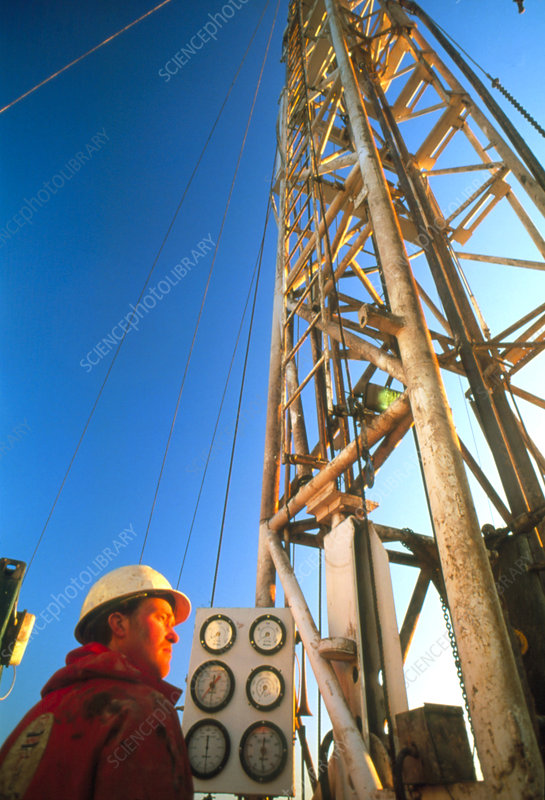 Technician at an onshore gas drilling rig