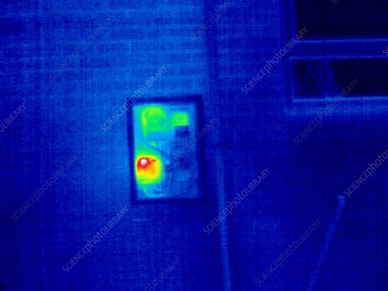 Domestic gas meter, thermogram