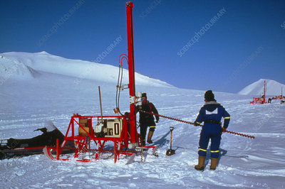 Drilling rigs on glacier