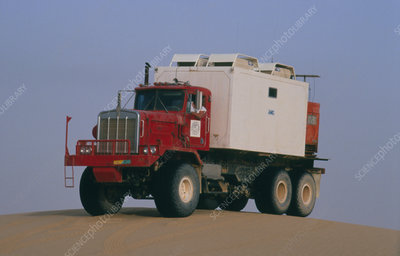 Seismic survey recording truck