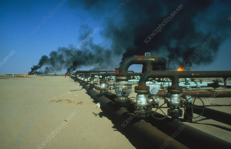 Pipeline carrying crude oil in the Libyan desert.