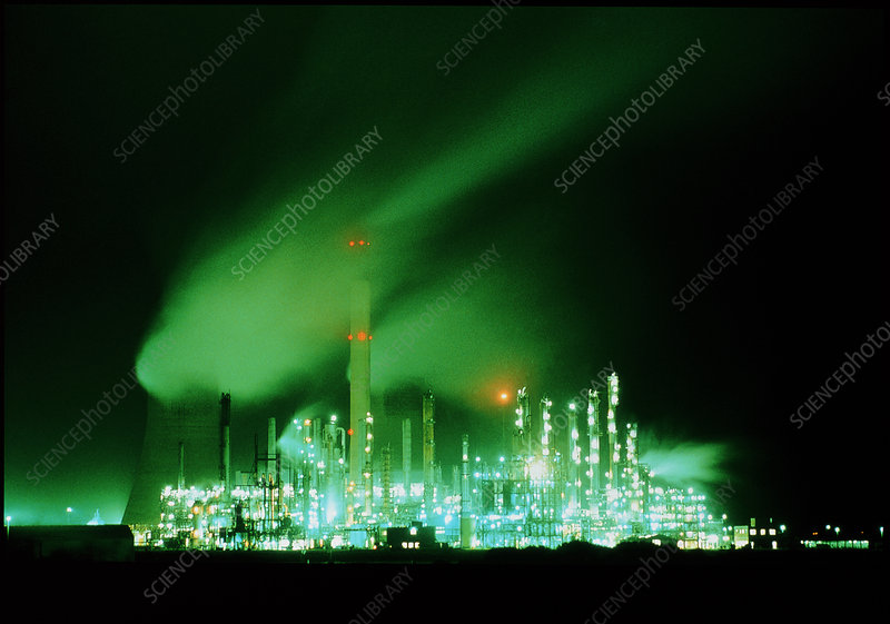 Night lights of BP's oil refinery, Wales