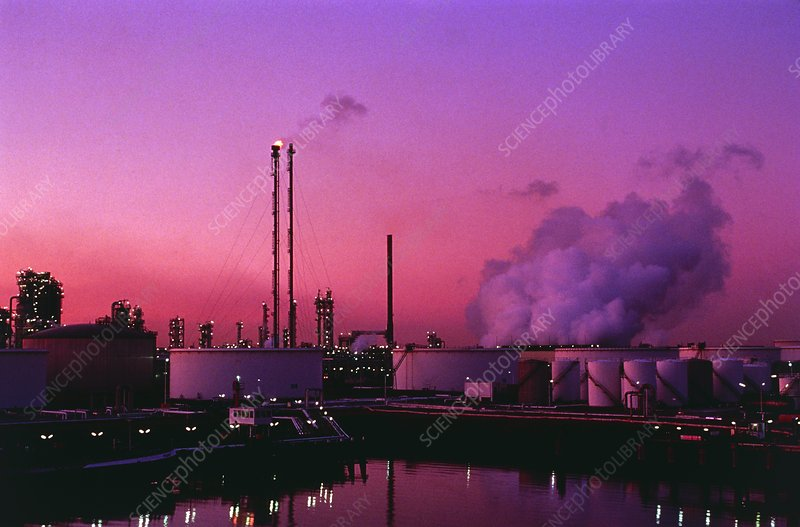 Oil storage tanks and refinery