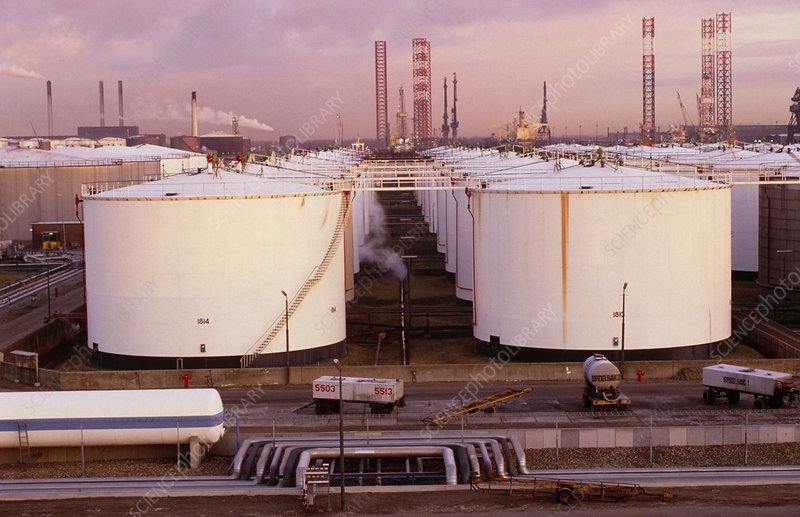 Oil storage tanks and refinery, Rotterdam.