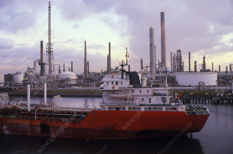 Oil tanker and storage tanks, Rotterdam.