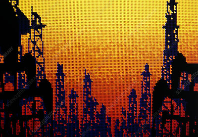 Computer graphics image of an oilfield.