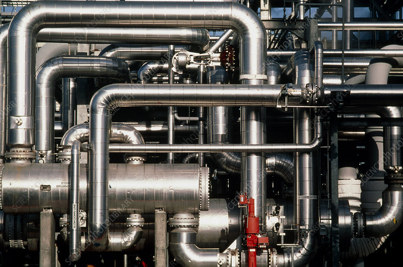 Pipework at an oil refinery
